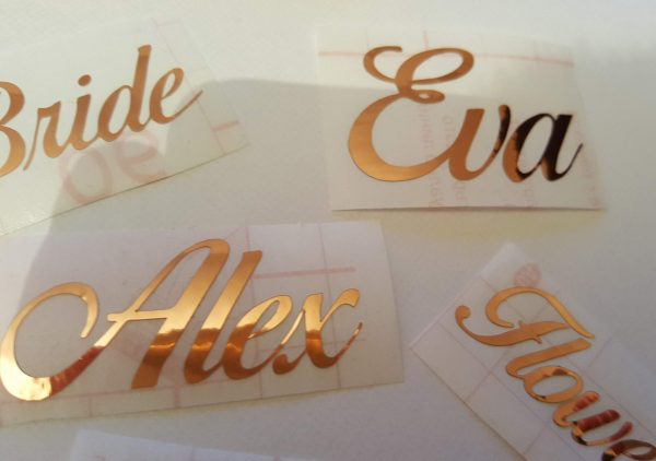 mirror gold decal